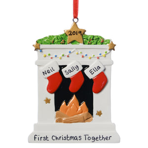 Personalised Resin Fireplace Decoration 9cm 3 Stockings