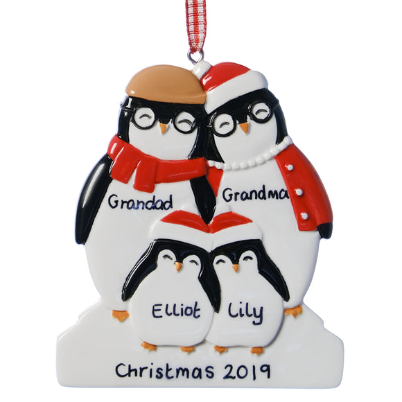Personalised Resin Grandparent Penguin Family 4 Christmas Decoration 9cm x 8cm