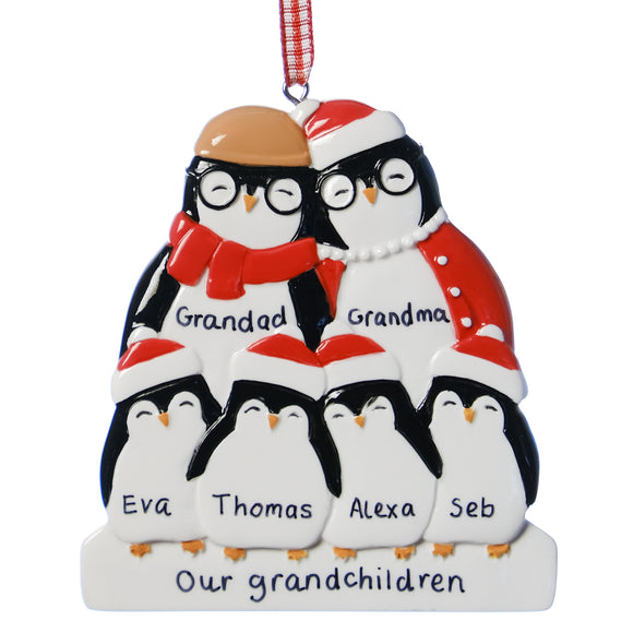 Personalised Resin Grandparent Penguin Family 6 Christmas Decoration 9cm x 8cm