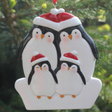 Personalised Resin Penguin Family 4 Decoration 9cm