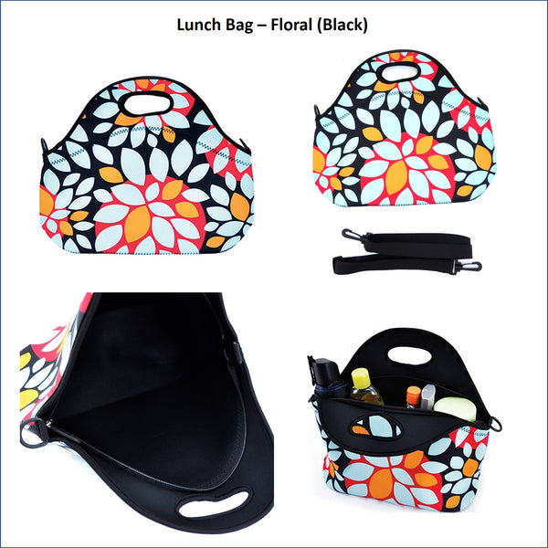 Lunch Bag - Floral (Black)