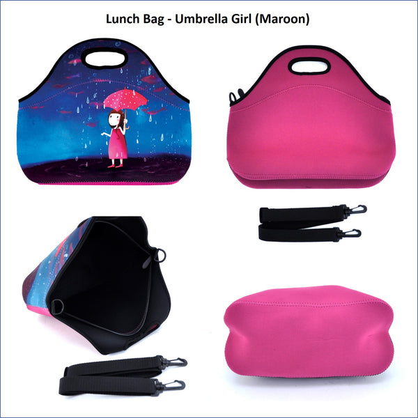 Lunch Bag - Umbrella Girl (Maroon)