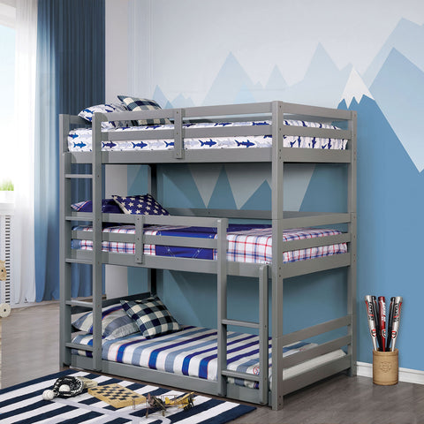 California V Twin-Twin-Twin Bunk Bed Gray - InteriorDesignsToGo.com