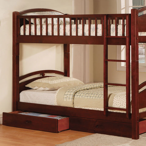 California I Twin-Twin Bunk Bed w- 2 Drawers in Cherry - InteriorDesignsToGo.com