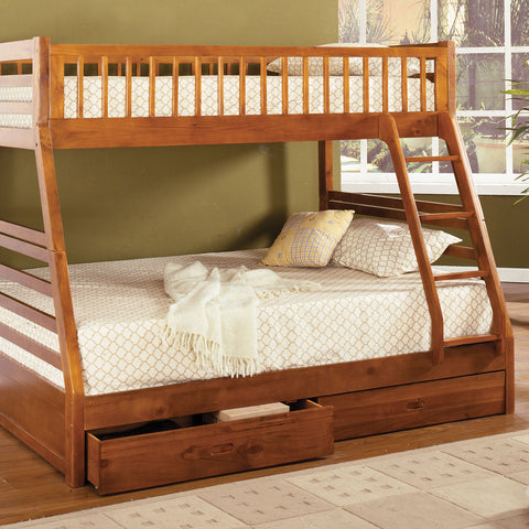 California II Twin-Full Bunk Bed w- 2 Drawers in Oak - InteriorDesignsToGo.com