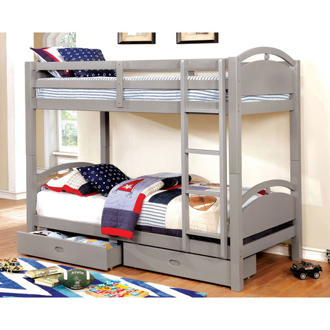 Beja Twin-Twin Bunk Bed w- 2 Drawers Gray - InteriorDesignsToGo.com