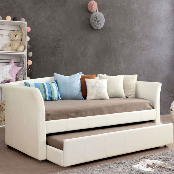 Delmar Daybed with Trundle, White - InteriorDesignsToGo.com