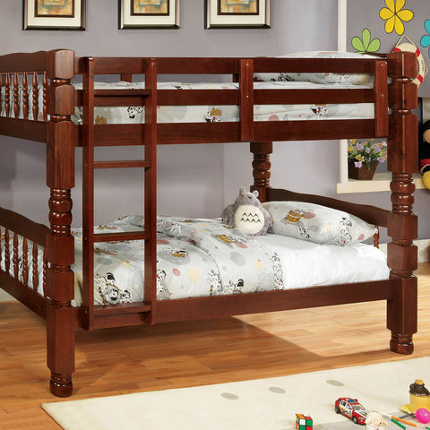 Carolina Twin-Twin Bunk Bed, Cherry - InteriorDesignsToGo.com