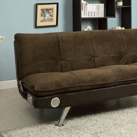 GALLAGHER Futon Sofa w- Bluetooth Speaker, Brown - InteriorDesignsToGo.com