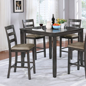 Gloria 5 Pc. Counter Ht. Table Set, Gray - InteriorDesignsToGo.com