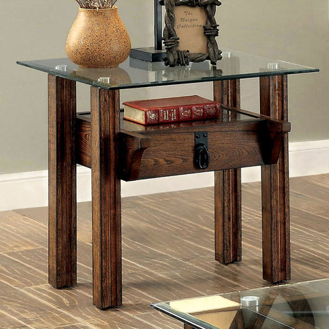 PENNY Industrial END TABLE 8MM CLEAR TEMPERED GLASS TOP & 5MM CLEAR TEMPERED GLASS SHELF - InteriorDesignsToGo.com