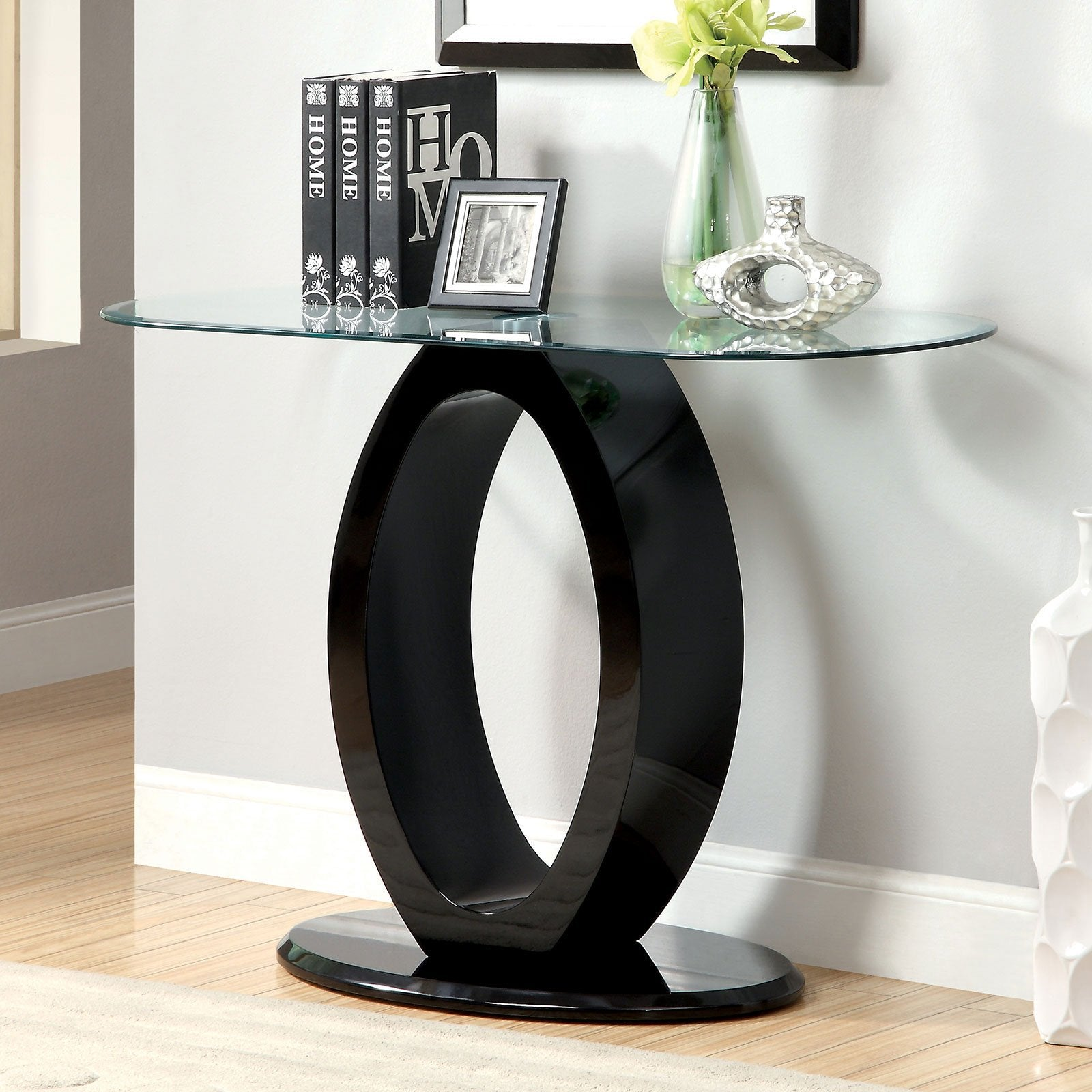 LODIA III Contemporary Sofa Table, Black - InteriorDesignsToGo.com
