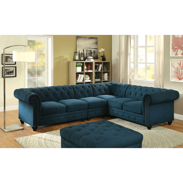 Stanford II Traditional Sectional, Teal Fabric - InteriorDesignsToGo.com