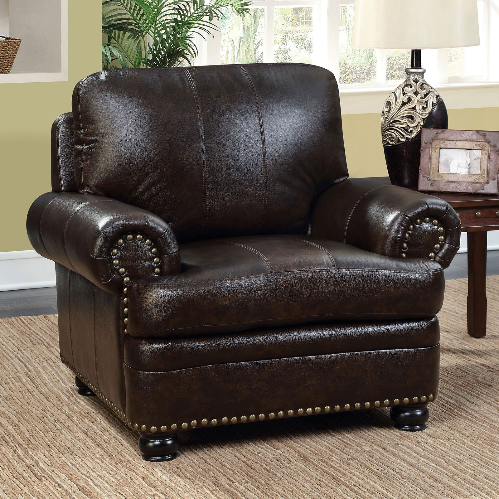 REINHARDT Transitional Chair, Dark Brown - InteriorDesignsToGo.com