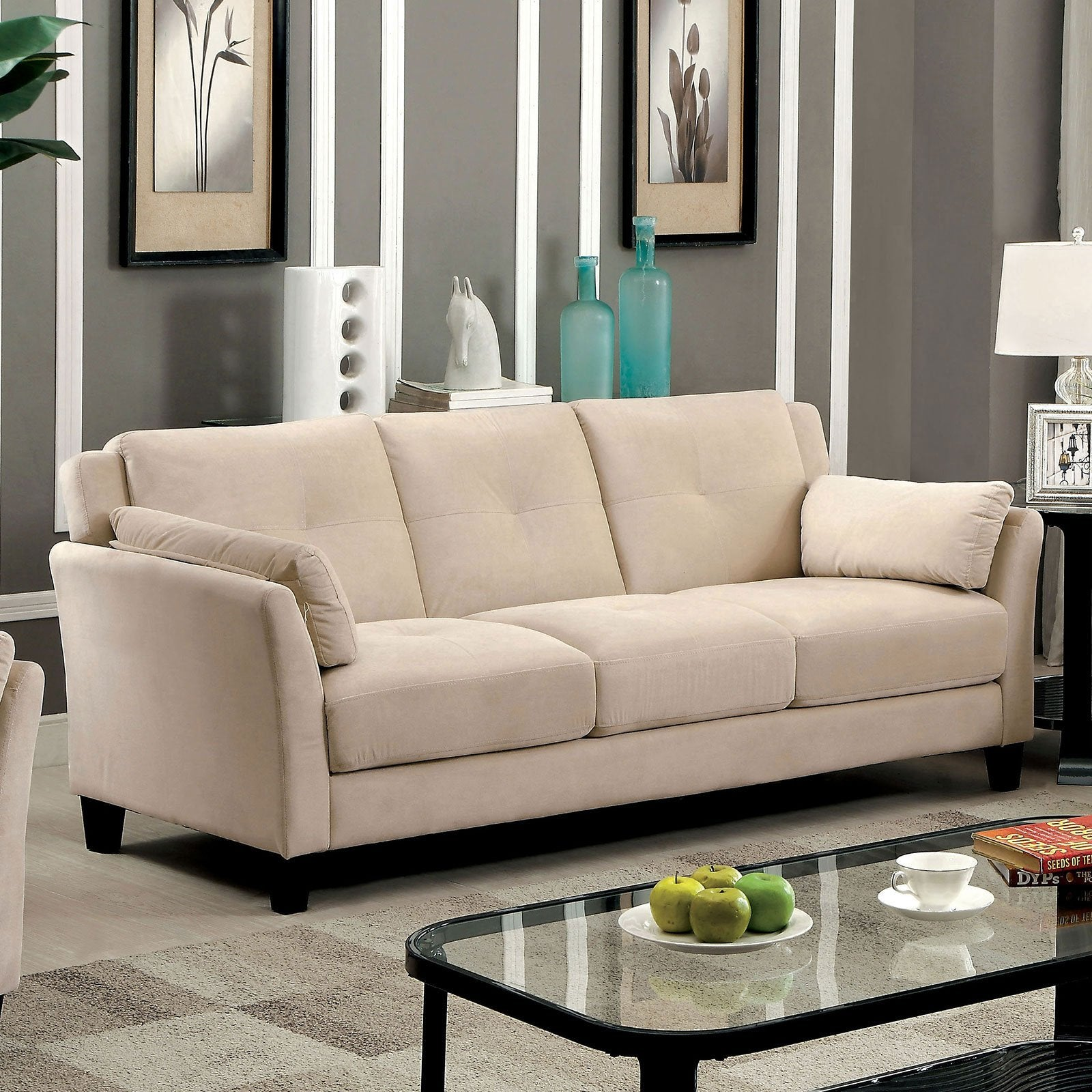 YSABEL Contemporary Sofa, Beige (K-D) - InteriorDesignsToGo.com