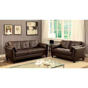 YSABEL Transitional Sofa + Love Seat + Chair, Brown - InteriorDesignsToGo.com