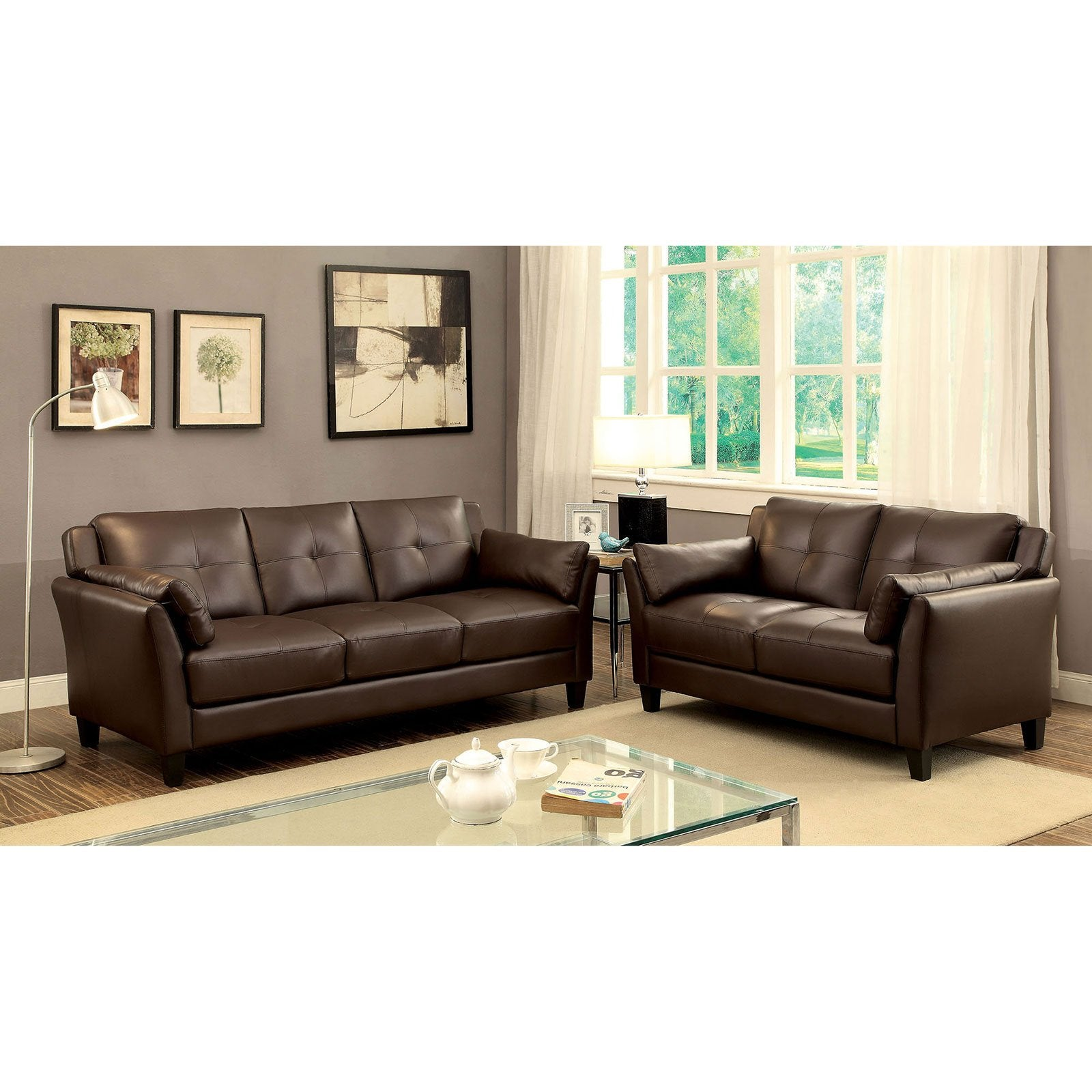 YSABEL Transitional Sofa + Love Seat, Brown - InteriorDesignsToGo.com