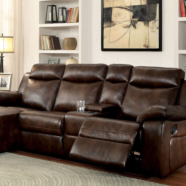 Hardy Transitional Sectional w- Console, Brown - InteriorDesignsToGo.com