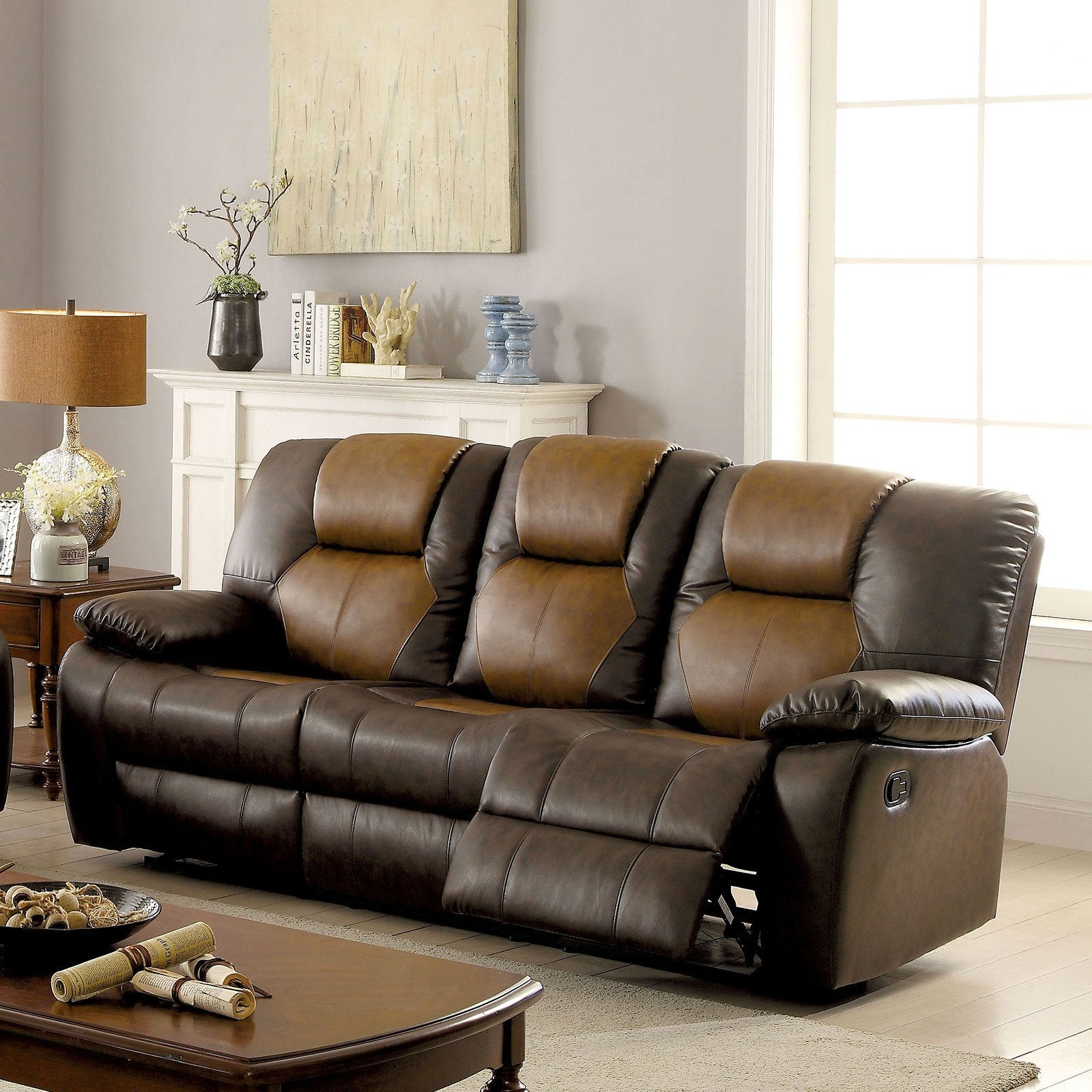 POLLUX Transitional Sofa w- 2 Recliners - InteriorDesignsToGo.com