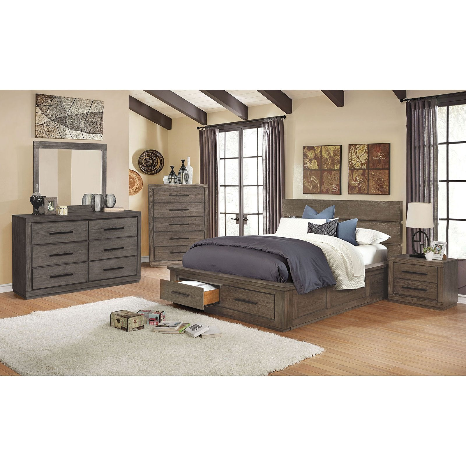 Oakburn Transitional 5 Pc. Queen Bedroom Set w-Chest - InteriorDesignsToGo.com