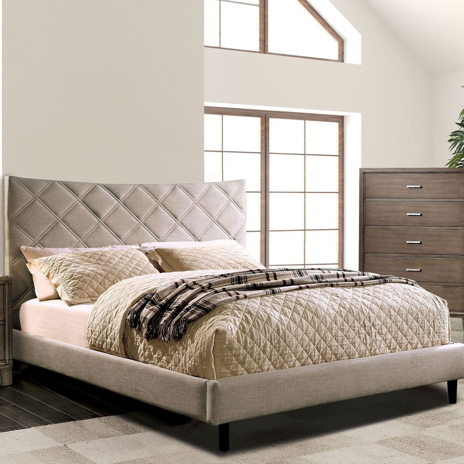 Estarra Cal.King Bed (Beige) - InteriorDesignsToGo.com
