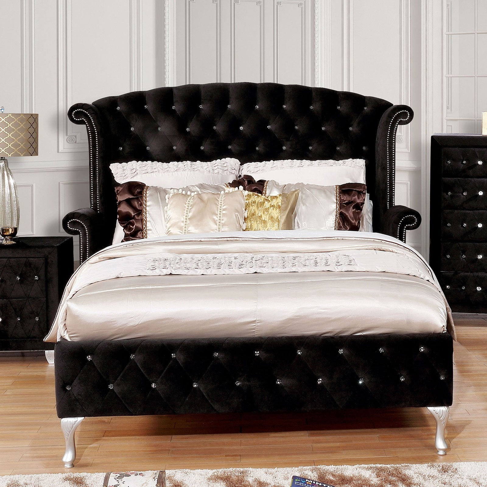 Alzire Cal.King Bed Black (Bed Only) - InteriorDesignsToGo.com