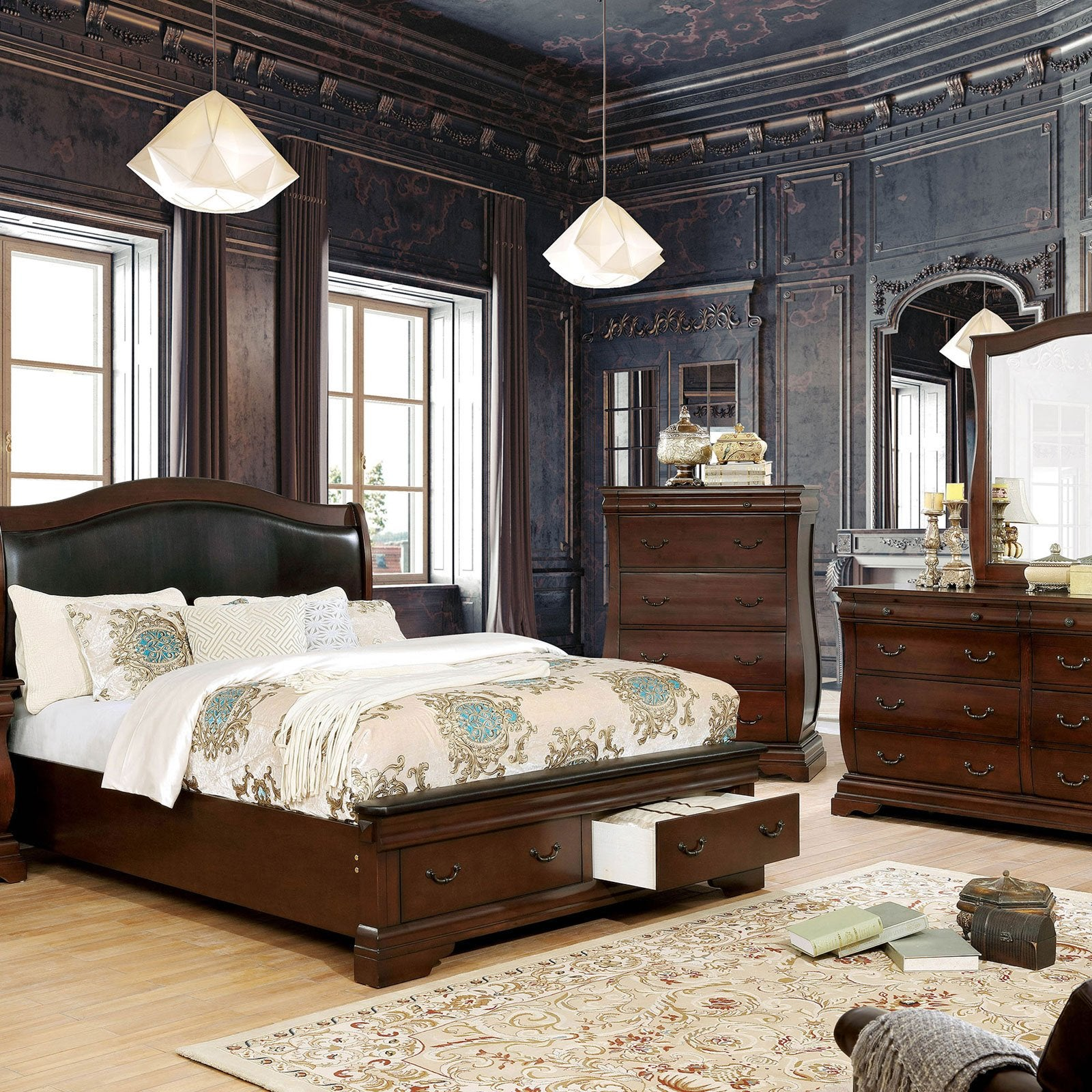 Merida Transitional E.King Bed - InteriorDesignsToGo.com