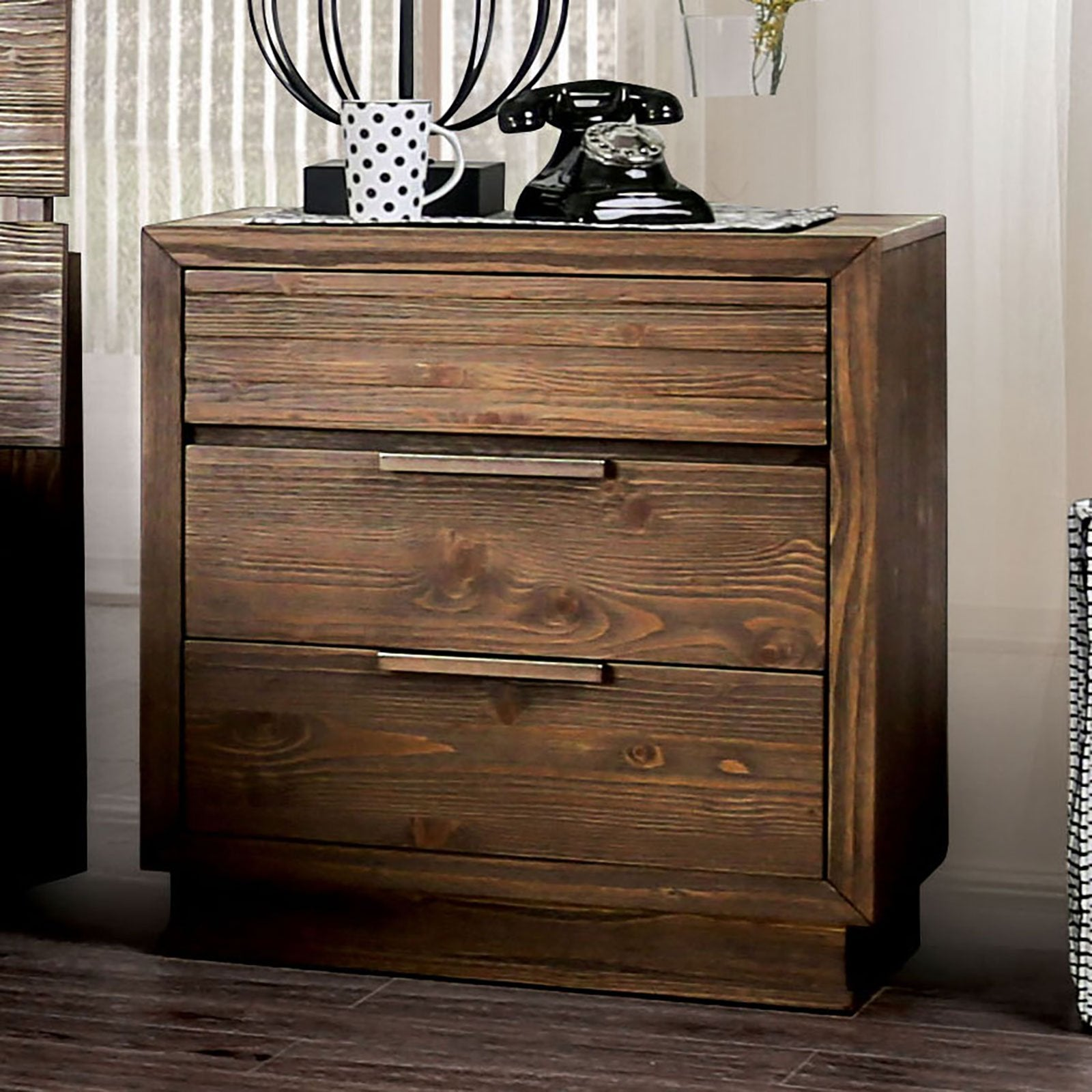 Tolna Rustic Night Stand w- USB Outlet - InteriorDesignsToGo.com