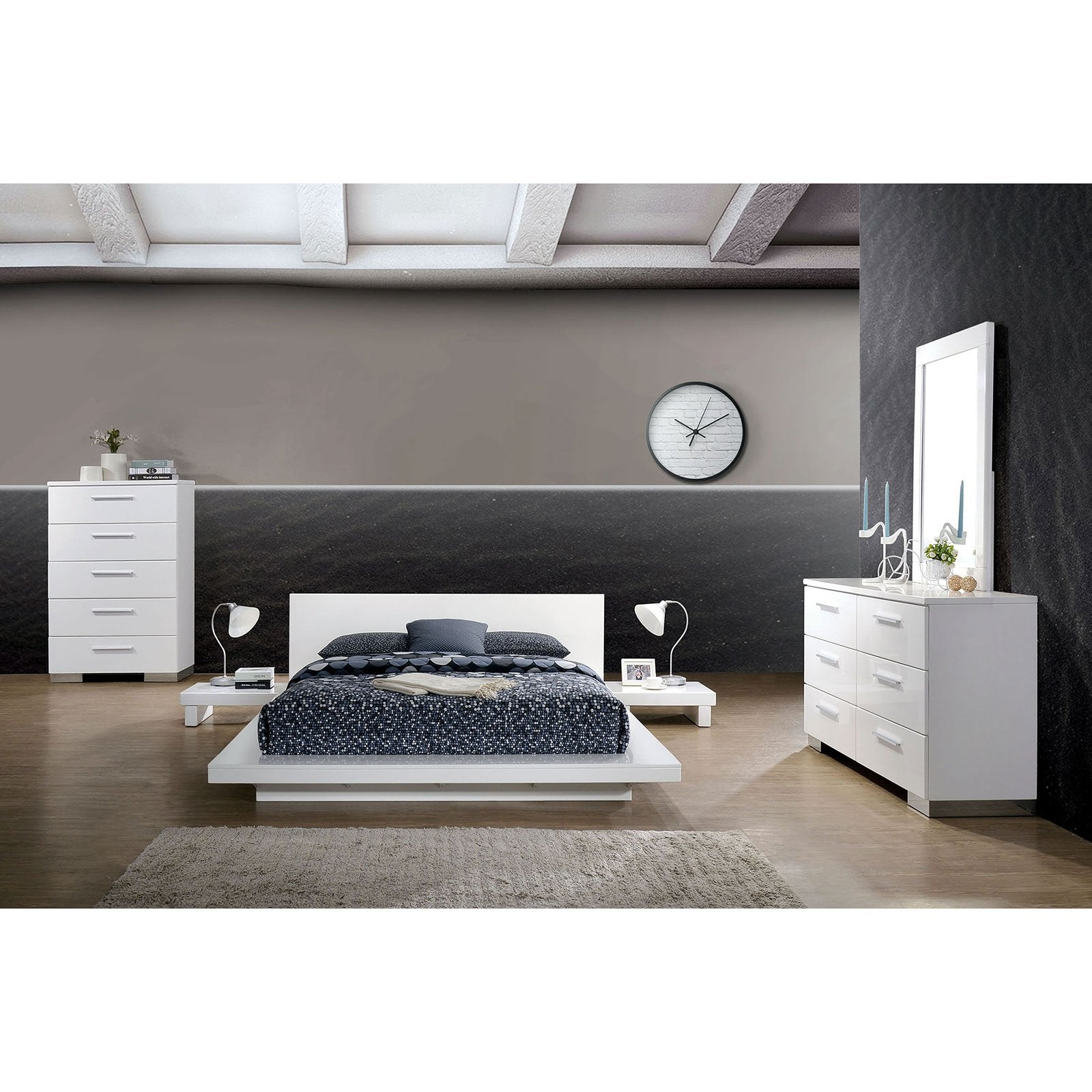 Christie Platform Bed Cal.King Bed White (Bed Only) - InteriorDesignsToGo.com