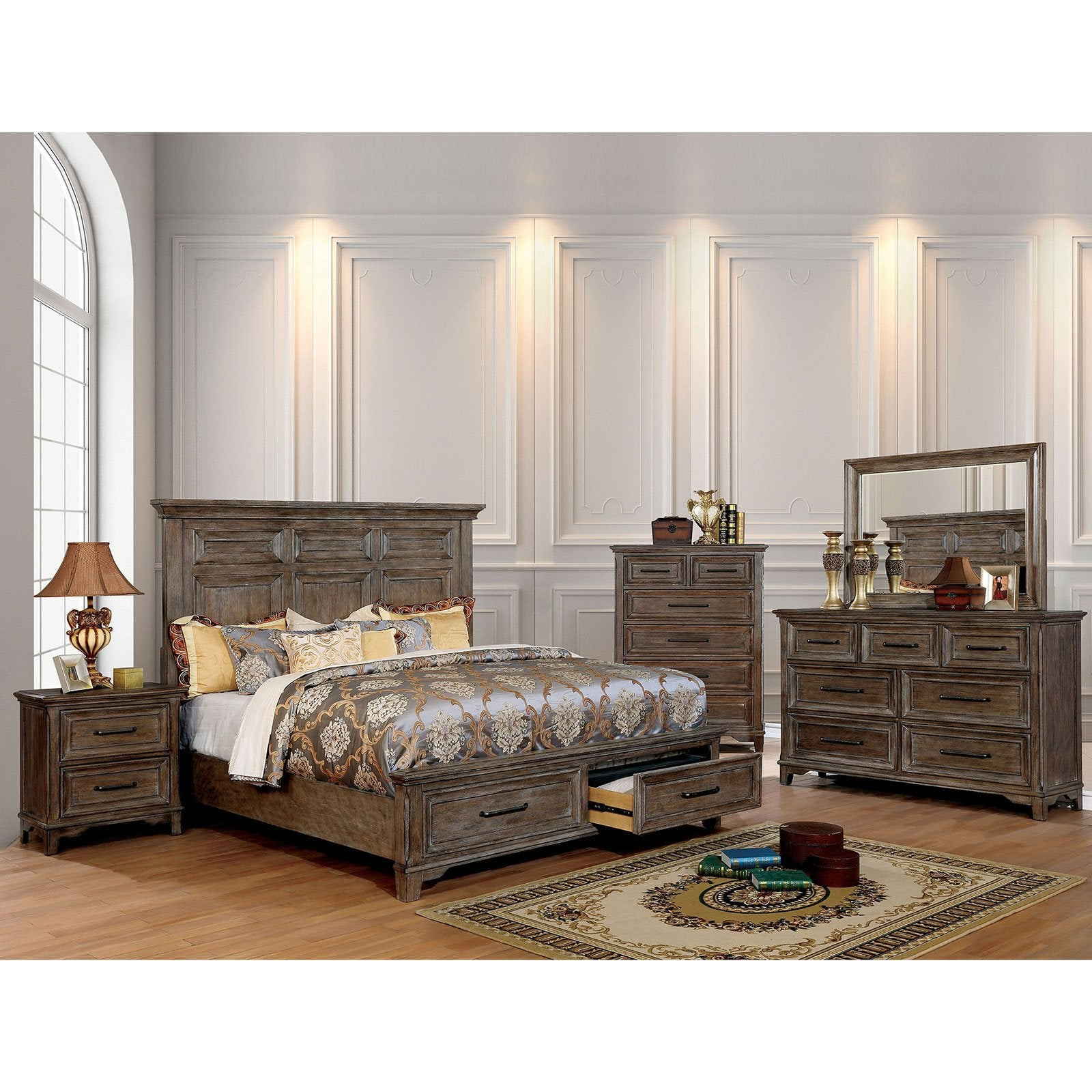 Oberon Transitional 4 Pc. Queen Bedroom Set - InteriorDesignsToGo.com