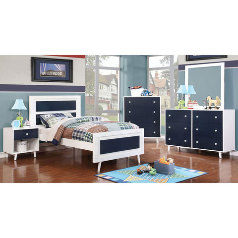 ALIVIA Twin Bed Blue & White (Bed Only) - InteriorDesignsToGo.com