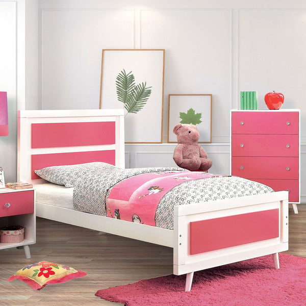 ALIVIA Twin Bed Pink & White (Bed Only) - InteriorDesignsToGo.com