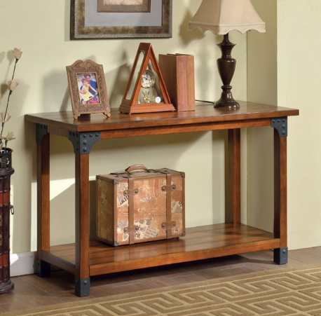 BOZEMAN Sofa Table, Antique Oak - InteriorDesignsToGo.com