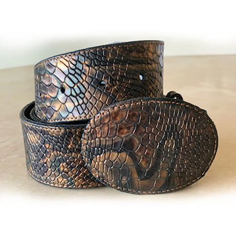 Snake Embossed Leather Belt