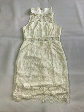 c8cf244f168650 Womens Lily Whyt Vintage Classic Lace Sleeveless Zip Up Back Dress White  Cream 8