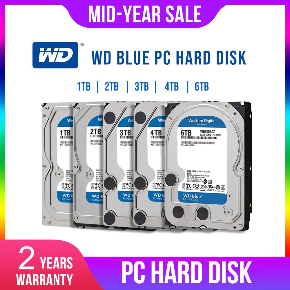 WD Western Digital Blue 1TB 2TB 3TB 4TB Hdd Sata 3.5'' Internal Hard Disk Harddisk Hard Drive Disque Dur Desktop HDD for PC