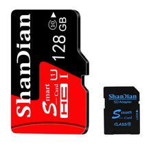 Load image into Gallery viewer, SHANDIAN Smast SD Card  U3 4K video Class 10 High Speed Memory Card 128GB 64GB 32GB 16gb U1 Class 10 SD Card for Phones Cameras