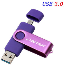 Load image into Gallery viewer, JASTER OTG USB Flash Drive 128GB 64GB High Speed Usb Stick 3.0 Pen Drive 16GB 32GB Memory Stick Pendrive for Android Mobile
