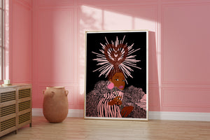 Framed Art Print featuring illustration of curvy black woman in orange bikini pink hair and purple headwrap