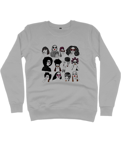 Grey Sweatshirt featuring illustration of several Black women's hairstyles by DorcasCreates