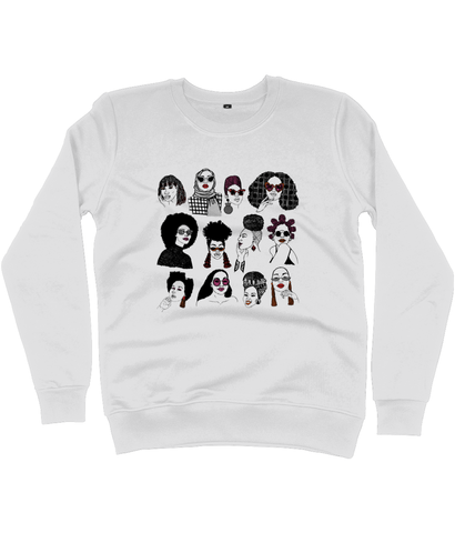 Off White Sweatshirt featuring illustration of several Black women's hairstyles by DorcasCreates