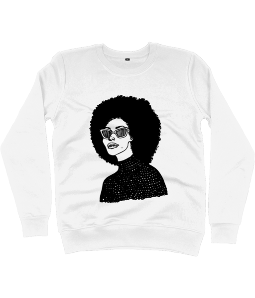 White Sweatshirt featuring illustration of black woman with large afro by DorcasCreates