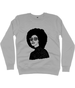 Grey Sweatshirt featuring illustration of black woman with large afro by DorcasCreates