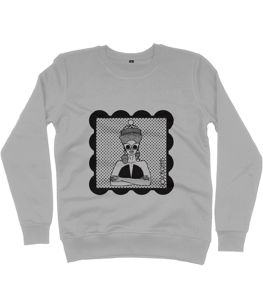 Grey Sweatshirt featuring illustration of black woman by DorcasCreates