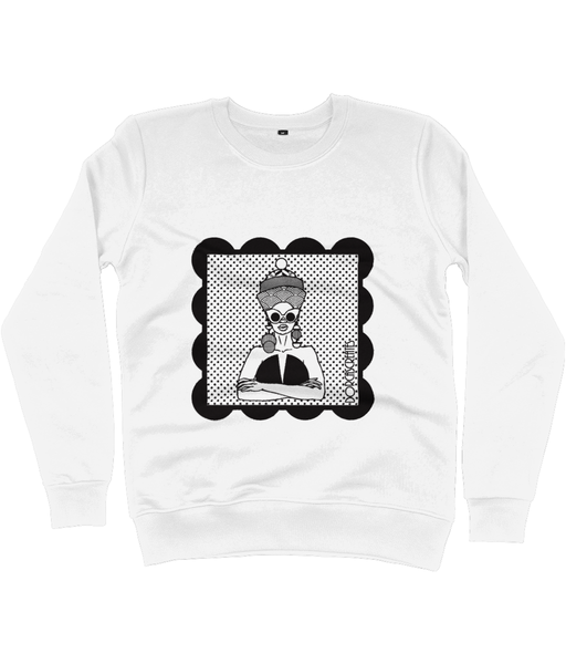 White Sweatshirt featuring illustration of black woman by DorcasCreates