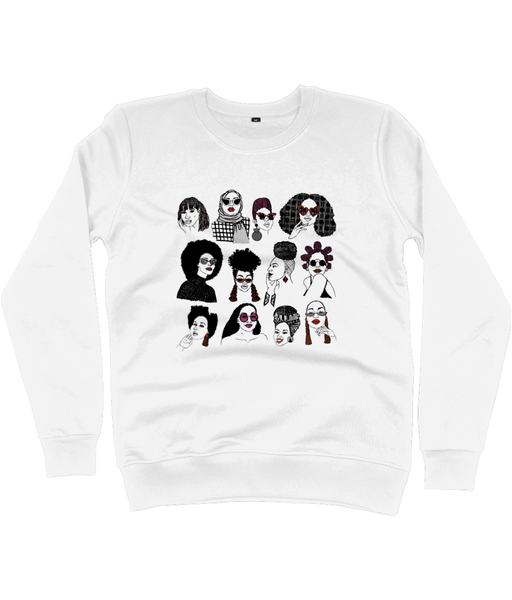 White Sweatshirt featuring illustration of several Black women's hairstyles by DorcasCreates