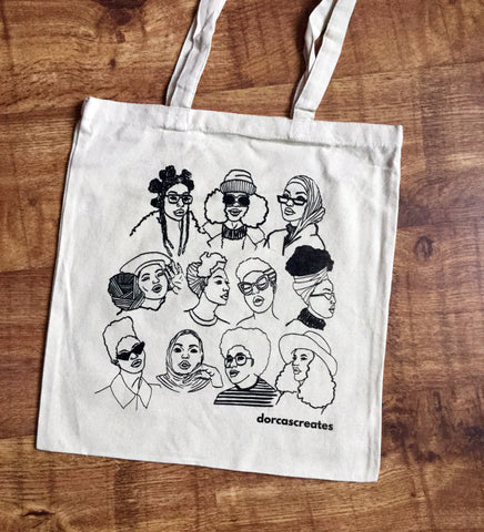 Black Hair Magic Cotton Tote Bag