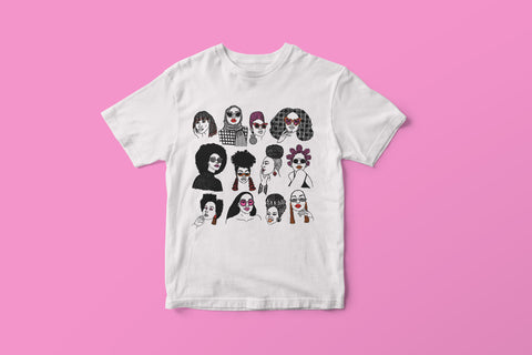 White T-shirt featuring illustration of several Black women's hairstyles by DorcasCreates