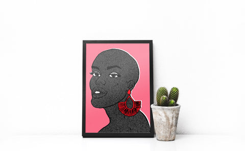 Art print of a bald black woman wearing large red earrings against a pink background by DorcasCreates