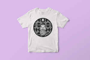 White T-shirt featuring afrofuturistic lip plate illustration by DorcasCreates